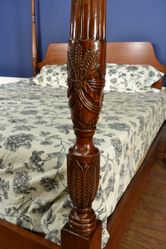 Lh 4578 Rice Carved Poster Bed